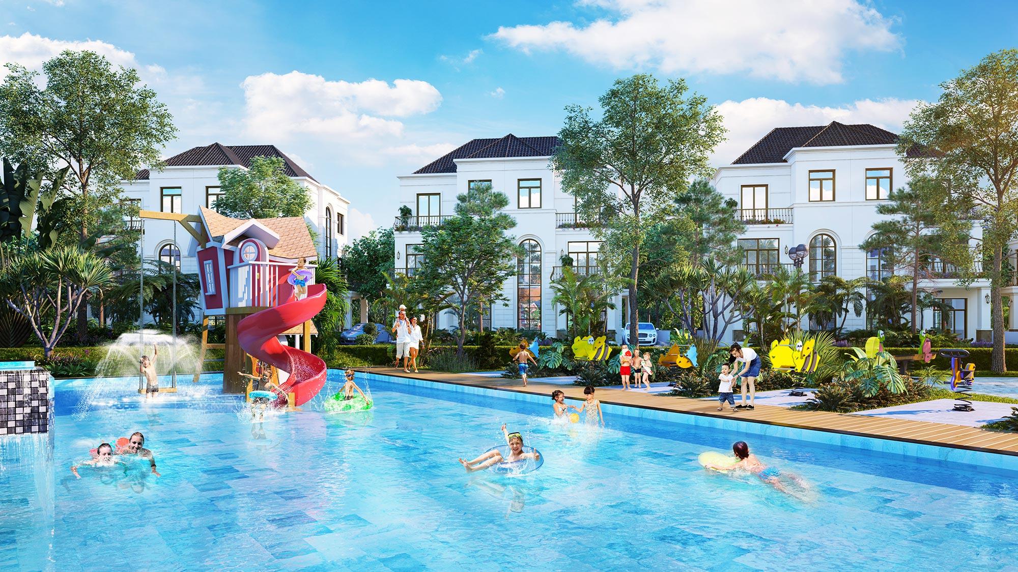 Hồ bơi dự án biệt thự West Lakes Golf & Villas Long An
